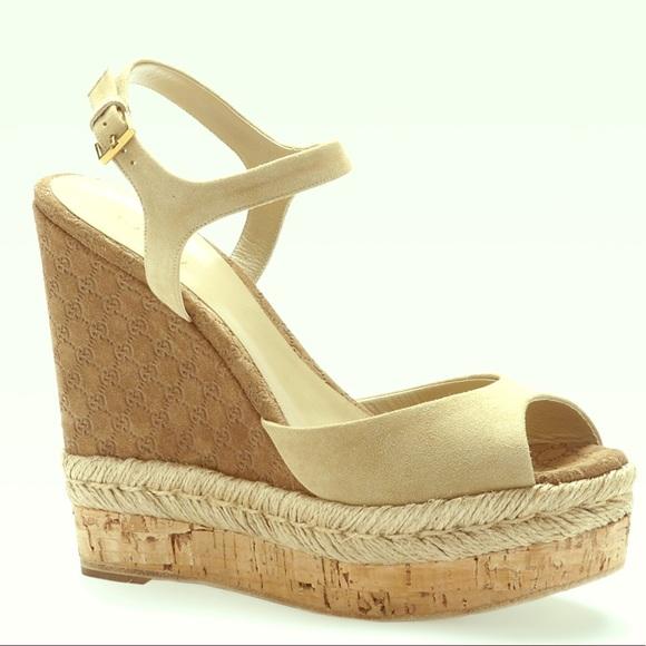 60d568c207f5 Gucci Shoes - Gucci Hollie Monogram Espadrille Wedge Sandals